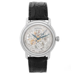 Hermes White Gold Sesame Skeleton Dial Automatic Wristwatch