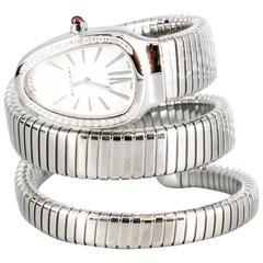 Bulgari Stainless Steel diamond amethyst Serpenti Flexible Wristwatch