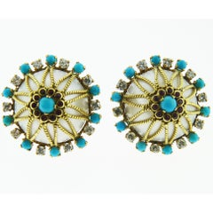 18 Karat Yellow Gold Diamond, Turquoise, Ruby and Pearl Earrings