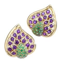Rene Boivin Amethyst Diamantoid Yellow Gold Earrings Earclips