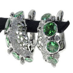 Tsavorite and Diamonds 18 Karat White Gold Earrings
