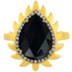 Meghna Jewels Flame Ring Black Onyx and Diamonds