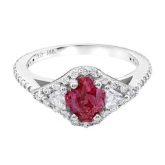 Burma Ruby Diamond Cluster Cocktail Ring 18 Karat White Gold