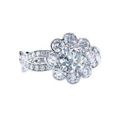 GIA Certified 1.07 Carat I/SI2 European Cut Diamond Platinum Halo Ring