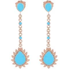Meghna Jewels Flame Earrings Turquoise and Diamonds