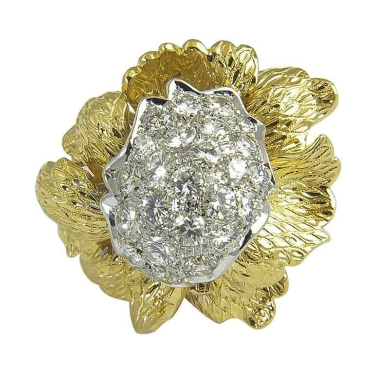 1960s Large Flower Diamond Gold Statement Ring