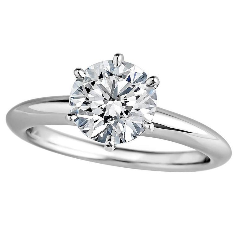 Engagement Rings Sale Price: Tiffany And Co. 1.37 Carat Diamond Platinum Engagement