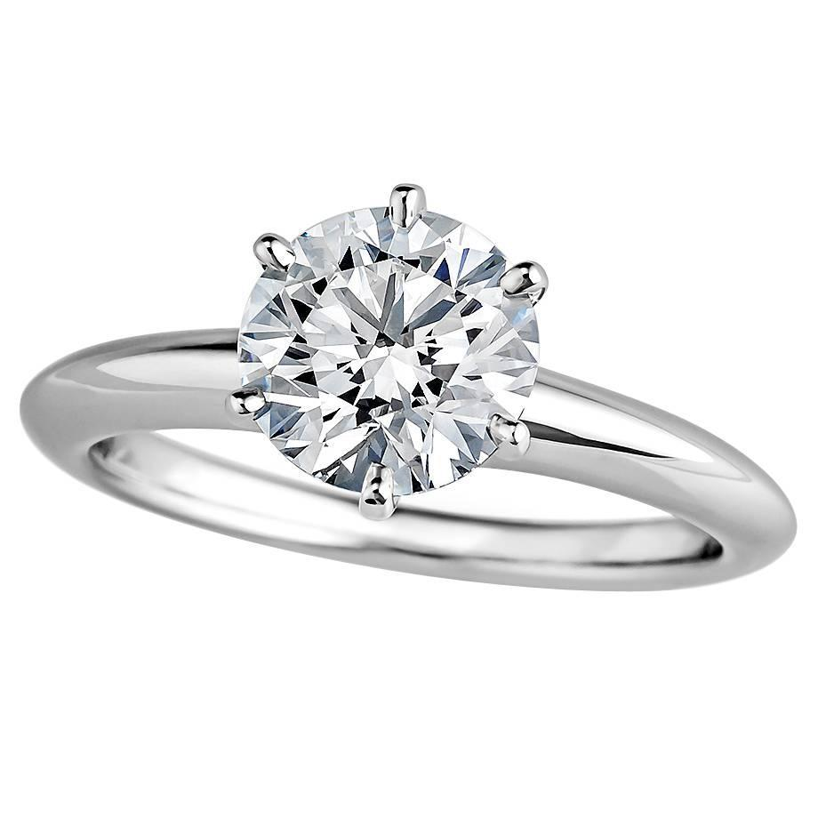 Tiffany and Co 1 37 Carat Diamond Platinum Engagement Ring For Sale at 1stdibs