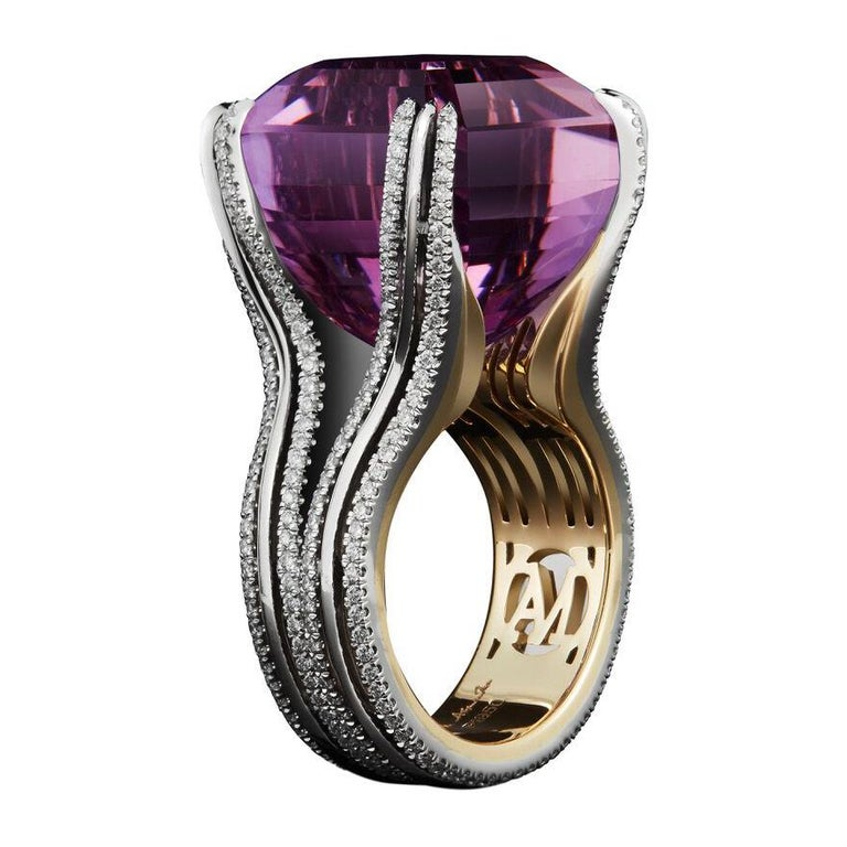 Alexandra Mor Asscher-Cut Amethyst and Diamond Ring