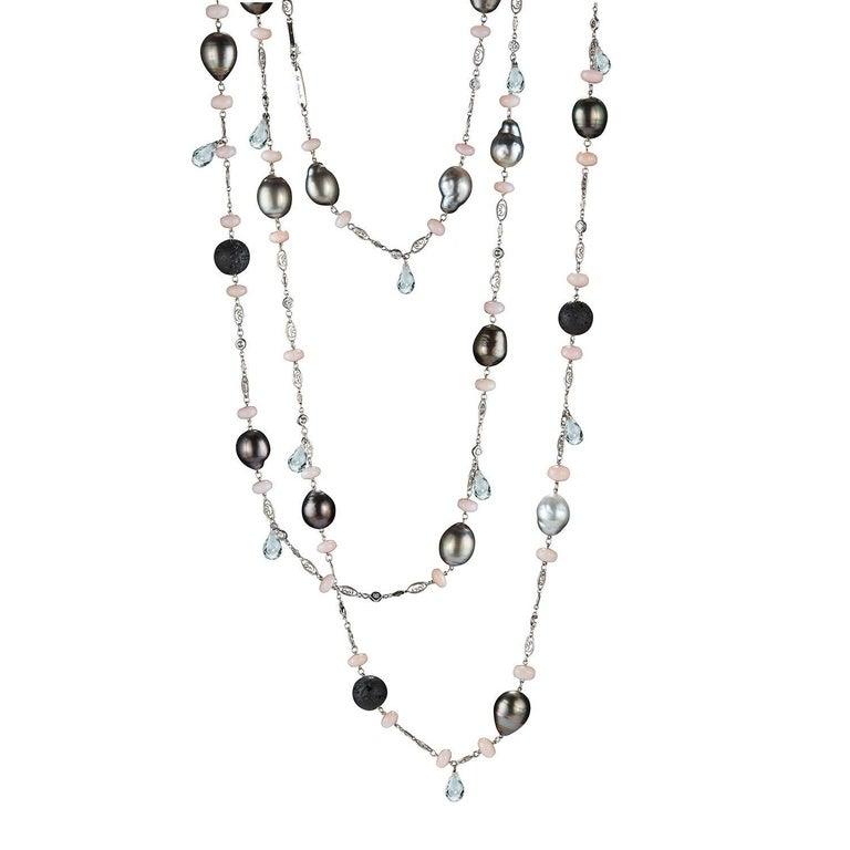 Alexandra Mor Pink Opal, Lava Beads and Pearl Sautoir Necklace