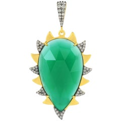 Meghna Jewels Claw Green Onyx and Diamonds Pendant