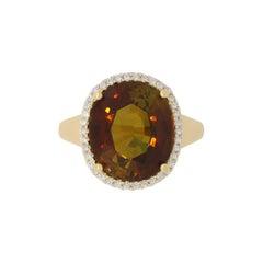 9.44 Carat Tourmaline and White Diamond Ring