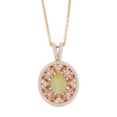 1.97 Carat Opal and 0.58 Carat White Diamond Pendant