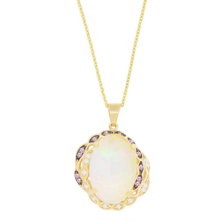 6.66 Carat Opal, 0.10 Carat Pink Sapphire and White Diamond Pendant