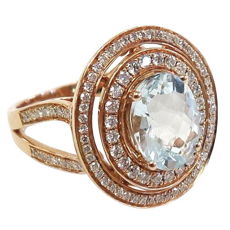 Aquamarine and Double Halo Diamond Ring