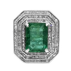 8.73 Carat Emerald 4.89 Carat Diamond Ring