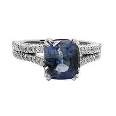 5.03 Carat Blue Ceylon Sapphire 1.05 Carat Diamond Ring