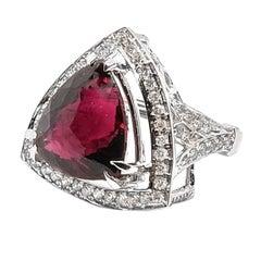8.31 Carat Natural Rubellite Pink Tourmaline and 1.6 Carat Diamond Ring