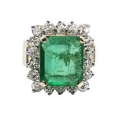6.16 Carat Emerald 2.3 Carat Diamond Ring
