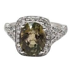 3.1 Carat Green Tourmaline and 1.5 Carat Diamond Ring