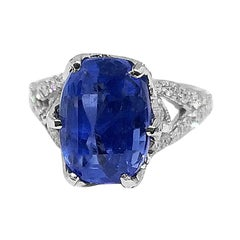 7.37 Carat Prime B Sapphire 2.4 Carat Diamond Ring circa 1970