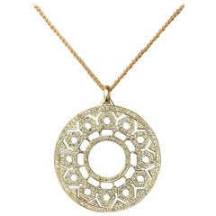 Gold and Natural Colored Diamond Circular Geometric Pendant Extra Large Sized