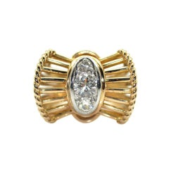 1950s French Diamond 18 Karat Yellow Gold and Platinum Vintage Ring