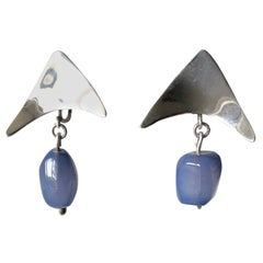 Mildred Ball Sterling Silver Blue Agate American Modernist Boomerang Earrings
