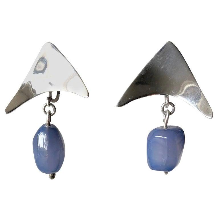 Mildred Ball Sterling Silver Blue Agate American Modernist Boomerang Earrings