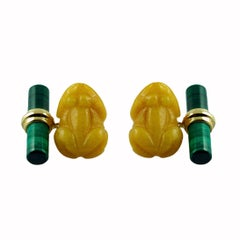 18 Karat Yellow Gold Frog Cufflinks in Yellow Jade and Malachite