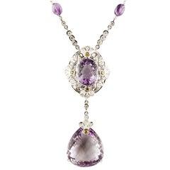White Diamonds Yellow Sapphires Amethyst White Gold Pendant Necklace