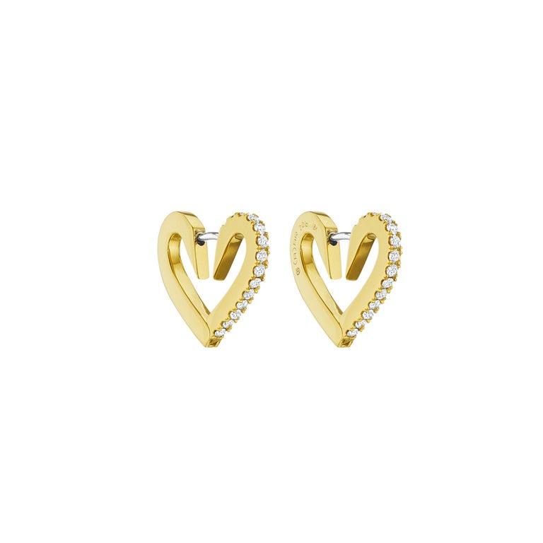 Cadar Endless Hoop Earrings, 18 Karat Yellow Gold and White Diamonds, Small