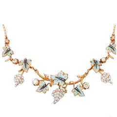 Victorian Pearl Grapes and Enamel Leaves Necklace with Diamonds Accent