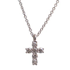 14 Karat White Gold Tiny Cross with 0.30 Carat of Diamond on Cable Chain