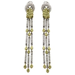 Green Yellow and White Diamond Two-Tone Yellow White Gold Chandelier Earrings