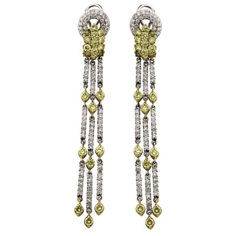 Green Yellow and White Diamond Two-Tone Yellow White Gold Chandelier Earrings For Sale