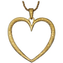 Neiman Marcus Oversized Gold Heart Pendant and Chain