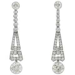 1920s 3.02 Carat Diamond Platinum Art Deco Drop Earrings