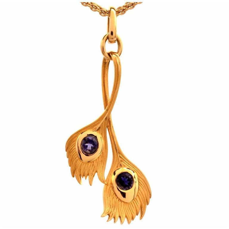 Carrera y Carrera Tanzanite Gold Peacock Pendant Necklace