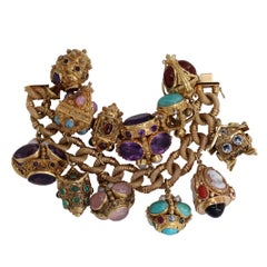 Midcentury Gold and Gemstone Fob Style Etruscan Revival Charm Bracelet