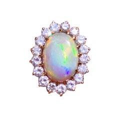 Impressive Large Opal 15 Carat VS Diamond Statement Cocktail Ring