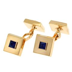 Elegant French Sapphire and Gold Cufflinks by Mellerio