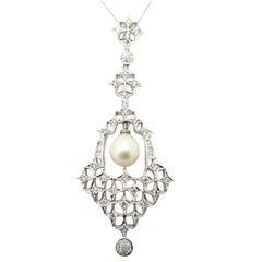 Classy 14 Karat White Gold Chandelier Pearl Necklace Dangle Pendant