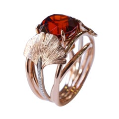 Coralie Van Caloen 18k Red Gold Ring With Red Garnet, Diamonds And Gingko Leaves