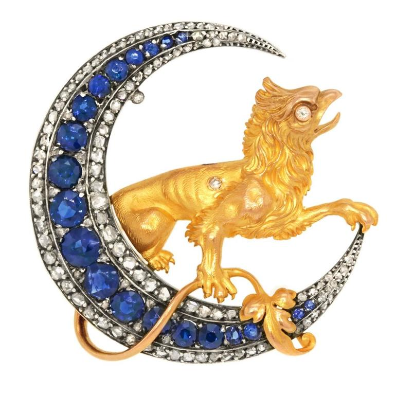 French Renaissance Revival Sapphire Diamond Brooch 1