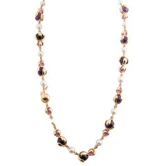 Marina B 'Bulgari' Amethyst and Cultured Pearl Sautoir Necklace 'Cardan'