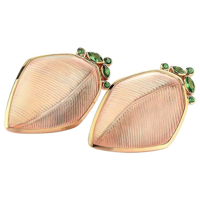 Rose Quartz Tsavorite Gold Leaf Wagner Collection Stud Earrings For Sale
