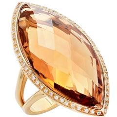 23 Carat Natural Citrine Diamond Yellow Gold Ring