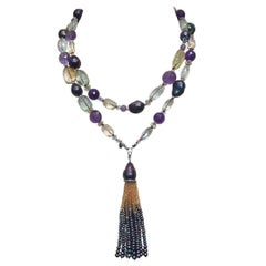 Black Pearl and Multi-Color Semi Precious Lariat with 14 Karat White Gold Clasp