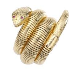 Mid-20th Century Yellow Gold Tubogas Snake Bracelet
